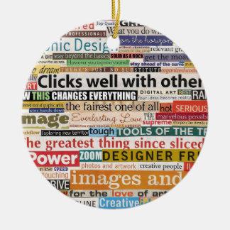 Diseño gráfico adorno navideño redondo de cerámica