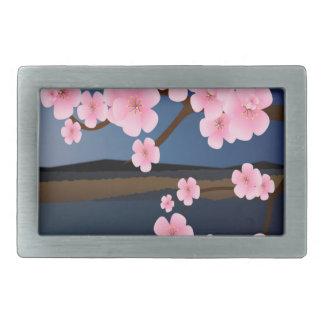 Diseño gráfico de flor de cerezo hebilla de cinturón rectangular