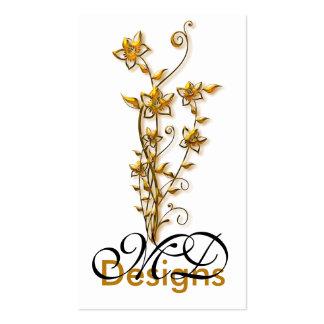 Diseño gráfico de la flor de oro:: Tarjeta de visi Tarjetas De Visita