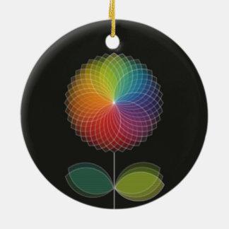 Diseño gráfico de la flor del arco iris en negro ornamentos de navidad