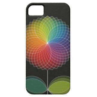 Diseño gráfico de la flor del arco iris en negro iPhone 5 funda