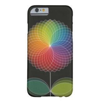 Diseño gráfico de la flor del arco iris en negro funda de iPhone 6 slim