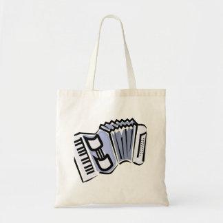 Diseño gráfico de la imagen del acordeón azul, mús bolsa tela barata