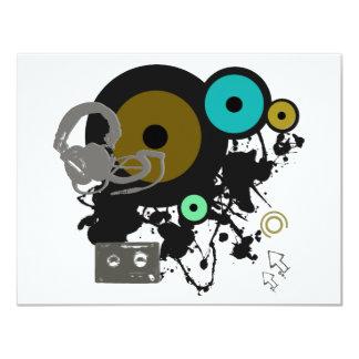 """¡Diseño gráfico de la música! Invitación 4.25"""" X 5.5"""""""