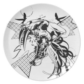 Diseño gráfico de la placa del cráneo del gran plato