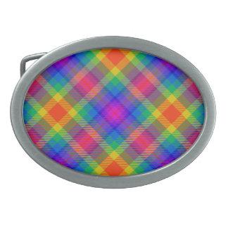 Diseño gráfico de la tela escocesa alegre del vera hebillas de cinturón ovales