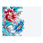 Diseño gráfico de las flores, azul y rojo, parte postal