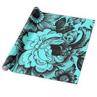 Diseño gráfico de las flores del estilo lamentable papel de regalo