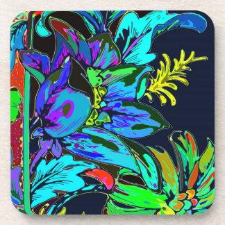 Diseño gráfico de las flores, verde y azul, parte  posavasos