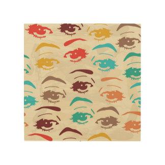Diseño gráfico de los ojos enrrollados impresiones en madera