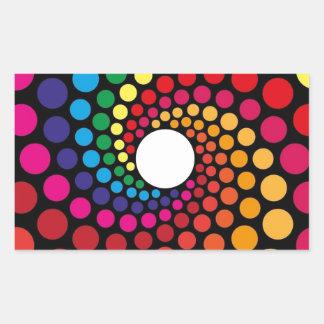 Diseño gráfico del ángel colorido de los círculos pegatina rectangular