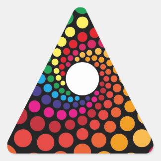 Diseño gráfico del ángel colorido de los círculos pegatina triangular