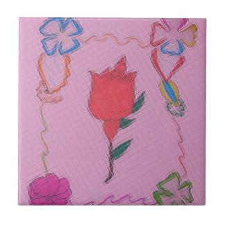 Diseño gráfico del arte color de rosa especial de azulejo cuadrado pequeño
