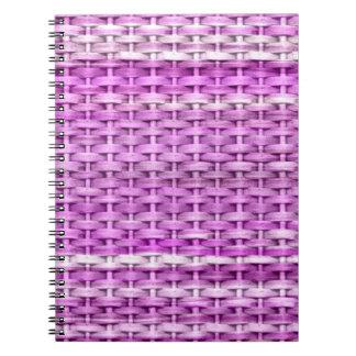 Diseño gráfico del arte de mimbre púrpura y rosado libreta
