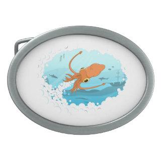 diseño gráfico del calamar hebilla de cinturon oval