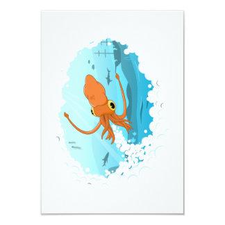 diseño gráfico del calamar invitación 8,9 x 12,7 cm