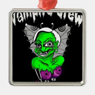 diseño gráfico del vampiro adorno navideño cuadrado de metal