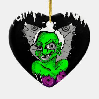 diseño gráfico del vampiro adorno navideño de cerámica en forma de corazón