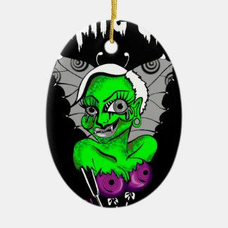 diseño gráfico del vampiro adorno navideño ovalado de cerámica