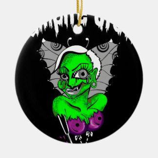 diseño gráfico del vampiro adorno navideño redondo de cerámica