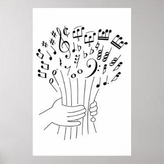 Diseño gráfico flores de notas musicales - posters