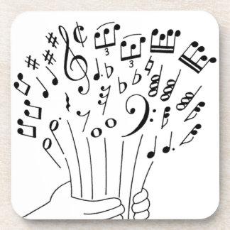 Diseño gráfico: flores de notas musicales - posavaso