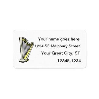 Diseño gráfico llano teñido azul de la arpa del pe etiqueta de dirección