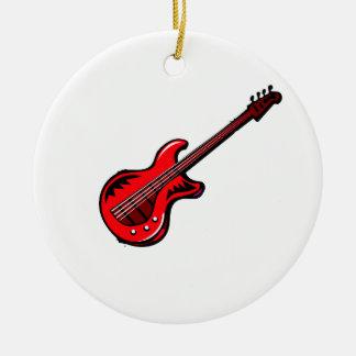 Diseño gráfico musical rojo de la guitarra adorno redondo de cerámica