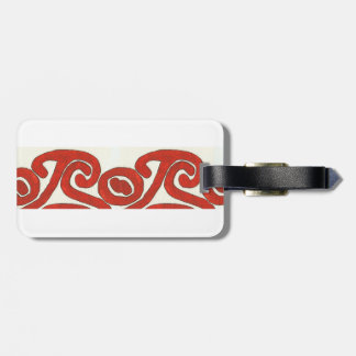 Diseño gráfico nativo en rojo etiquetas maleta