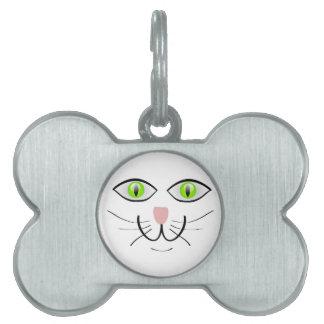 Diseño grande de los ojos verdes de la cara del CA Placa De Nombre De Mascota