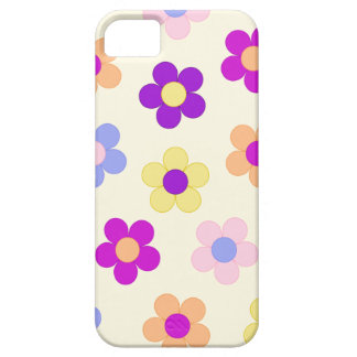 Diseño grande del flower power - fondo amarillo iPhone 5 fundas