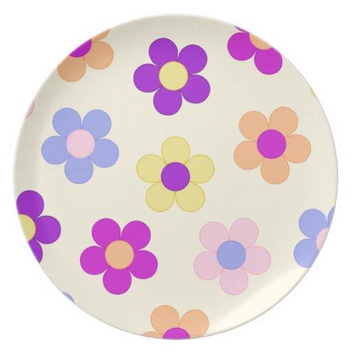 Diseño grande del flower power - fondo amarillo plato de cena