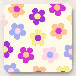 Diseño grande del flower power - fondo amarillo posavasos