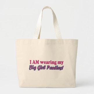 Diseño grande del texto de las bragas del chica bolsa tela grande