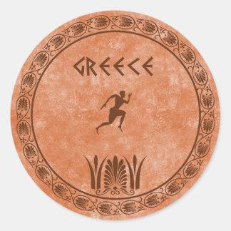 diseño griego del círculo pegatina redonda