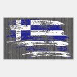 Diseño griego fresco de la bandera rectangular pegatinas