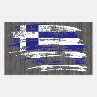 Diseño griego fresco de la bandera pegatina rectangular