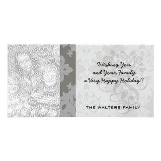 diseño gris adornado del damasco del diamante tarjetas fotográficas personalizadas