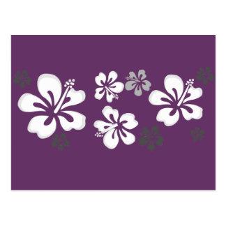 diseño gris blanco del hibisco postal