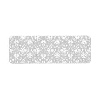 Diseño gris blanco y en colores pastel del damasco etiqueta de remitente