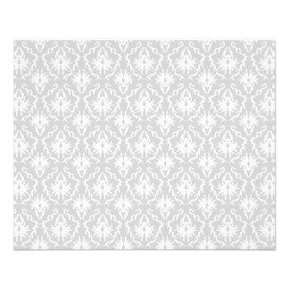 Diseño gris blanco y en colores pastel del damasco flyer personalizado