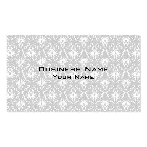 Diseño gris blanco y en colores pastel del damasco tarjetas de visita