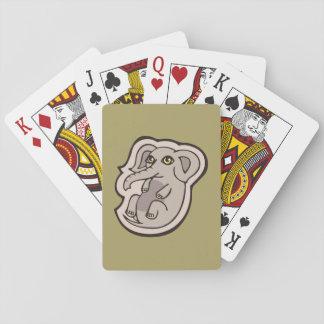 Diseño gris juguetón lindo del dibujo del elefante barajas de cartas