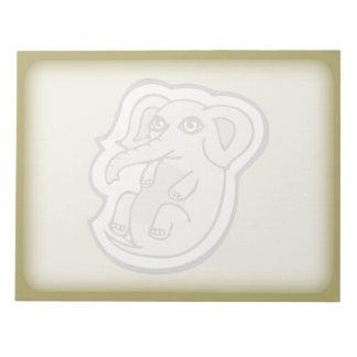 Diseño gris juguetón lindo del dibujo del elefante blocs de papel