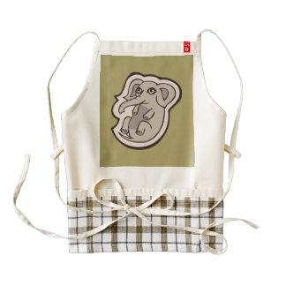 Diseño gris juguetón lindo del dibujo del elefante delantal zazzle HEART