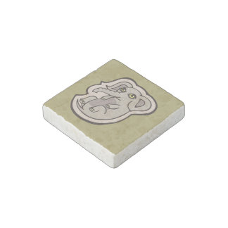 Diseño gris juguetón lindo del dibujo del elefante imán de piedra