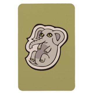 Diseño gris juguetón lindo del dibujo del elefante imán foto rectangular