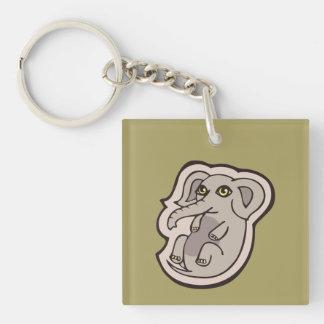 Diseño gris juguetón lindo del dibujo del elefante llavero cuadrado acrílico a una cara