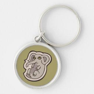 Diseño gris juguetón lindo del dibujo del elefante llavero redondo plateado
