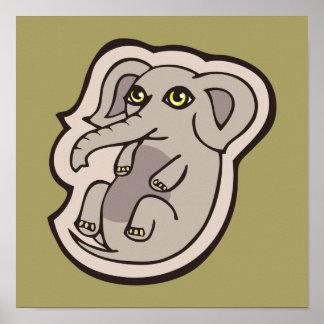 Diseño gris juguetón lindo del dibujo del elefante póster